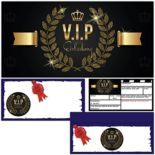 (12 Karten inklusive passende Umschläge) Premium Einladungskarten edel in Schwarz & Gold ideal für VIP Party, Event, Einweihung, Geburtstag für Jungen, Mädchen und Erwachsene (Themen Für Erwachsene Geburtstagsfeiern)