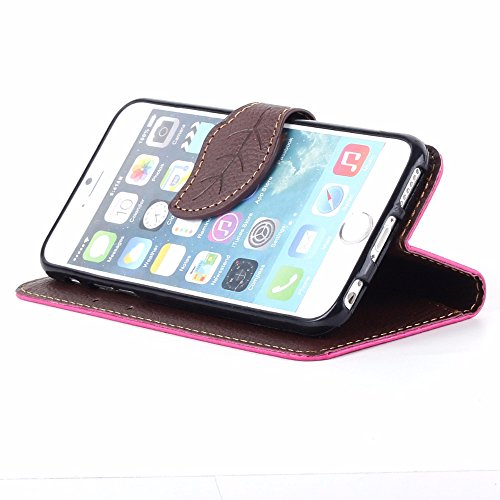 UKDANDANWEI Apple iPhone 6 PLUS étui,Les feuilles de texture Pu Leather Case avec Dragonne Corde Flip Wallet Protective Case Cover avec Fonction Stand et Fentes de Carte de Crédit Flexible Souple Tpu  Rose vif
