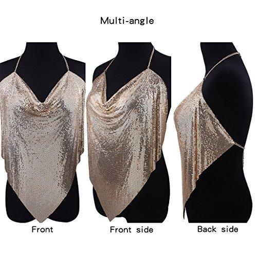 Solememo Nightclub See Through Deep V Halter Top Metal Sequins Crop Top Sexy Club Wear Gold Shirt for (Club Sexy Wear)