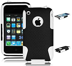 Bastex Hybrid 2 Piece Black Mesh Plastic White Silicone Case Cover for Apple Iphone 3g 3gs