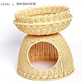 Bonwg Handgemachte Rattan Katzenstreu Hund Pet Nest Cat Wurf Pet Bed Rattan Nest Pet Supplies,Beige