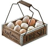 LOBERON Eierkorb Egg Carrier, Küchen-Accessoires, Kiefernholz, H/B/T ca. 9/22/18 cm, antikbraun