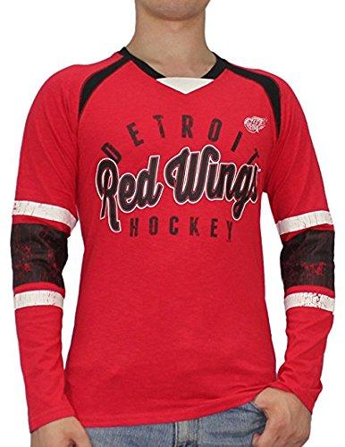 NHL Detroit Red Wings Mens Long Sleeve Sweater Shirt (Vintage Look) (Vintage Red Wing)