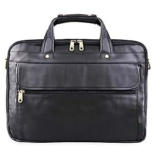 AB Earth Qualität Rindleder Ledertasche Aktentasche Laptoptasche Handtasche messenger bag 40 x 30 x 12cm M160 (Black)