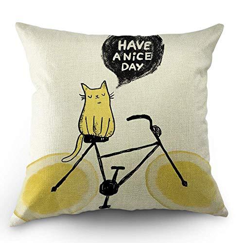 odin sky Katze Kissen dekorative Kissenbezug niedliche Skizze Katze auf Lemon Wheel Bike mit Zitat haben einen schönen Tag Throw Pillow Cover Square Kissen Akzent Cotton Home gelb schwarz, 45 x 45 cm (Cover Wheel Rosa)