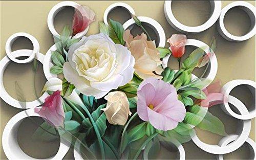 HHCYY Kundenspezifische 3D Tapete Wandbild Des Wohnzimmers 3D Kreisen Große Rosenblumenmalerei Sofa Fernsehhintergrundwand Ein-120cmx100cm
