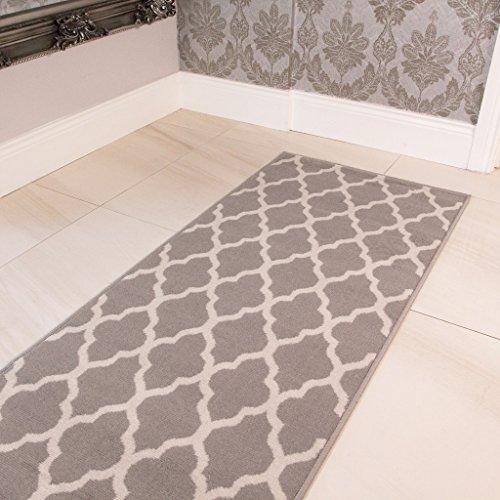 Tapis Milan confortable gris, brun et taupe, motif trellis géométrique gris 60cm x 240cm
