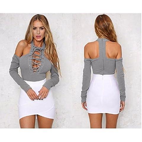 XJoel Hombro Pecho manera de las mujeres de rocío floja ocasional de la falda del vestido gris Tops