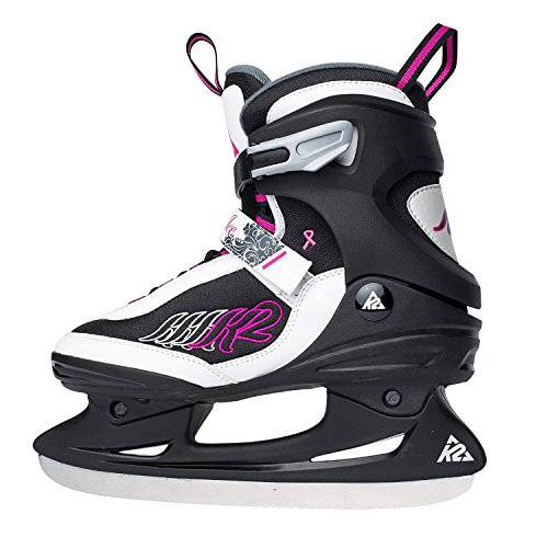 K2 Pattini Da Ghiaccio Adulti Ascent Ice Skates - The Original Soft Boot Taglia US 7 Euro 37 UK 4.5 cm 24 NERO/BIANCO/ROSA/GRIGIO