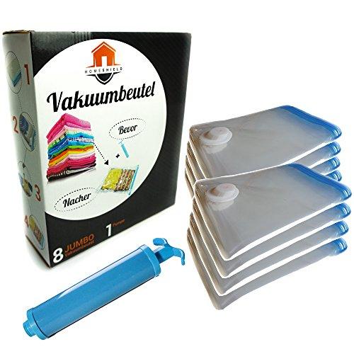 Home-Shield 8tlg Vakuumbeutel 100x70 Set   + Reisepumpe   Platzsparen   Wasserdicht   Staubgeschützt   Aufbewahrungsbeutel   Kleidung   Backpacking   Aufrollen zum Reisen   Wiederverwendbar   Staubsauger
