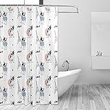 coosun Französische Bulldogge Paris Muster Duschvorhang Polyester Stoff Wasserabweisend Schimmelresistent Vorhang für die Dusche für Badezimmer Badewanne Deko, 60W x 72L Zoll