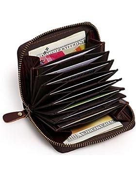 APHISONUK RFID Accordion Style Portatarjetas de crédito de cuero RFID Blocking Safe Wallet Zipper Around Último...