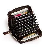 APHISONUK Fein Leder Kreditkartenetui Geldbörse, RFID Schutz Scheckkarten Echt Leder Ziehharmonika-Kreditkartenetui Geldbörse Scheckkarten Kartenetui Visitenkartenetui Damen