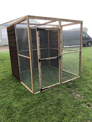 4wire Large Bird Aviary Run 6ft x 6ft x 6ft Mesh Roof Boarded Back 19G