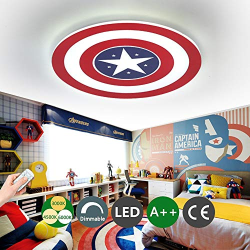 Luz de techo del Capitán América Lámpara de techo LED creativa Lámpara de pared Regulable con control remoto de metal Cuarto de los niños Habitación Iluminación decorativa,24WØ42CM