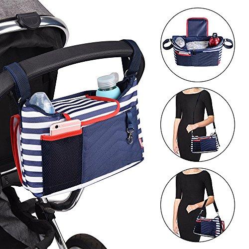 Schnuller-halter Wickeltasche (Baby Kinderwagen-Organisator Wickeltasche Große Kapazität Universelle Passform mit Schultergurt Babyflasche-halter Tragbare Windel-Wechselmatte (Dunkelblau))