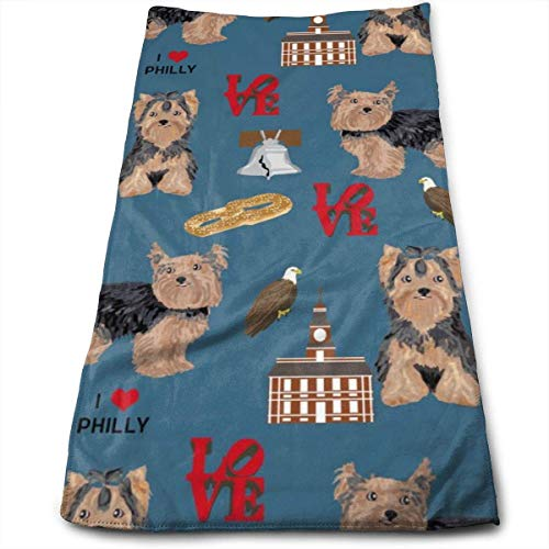 Wodann Yorkie Philly Hunderasse Philadelphia Yorkshire Terrier blau Handtücher Geschirrtuch Floral Leinen Handtuch 11,8