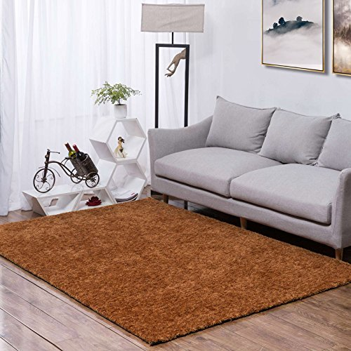 Taleta Shaggy Hochflor Teppich, Modern Uni Dekoration, Handgefertigt aus Polyester, Meliert in Terra, Größe: 160x230 cm