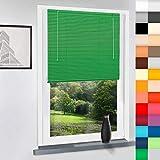 SUNWORLD Aluminium Jalousie nach Maß, hochqualitative Wertarbeit, alle Größen verfügbar, Maßanfertigung, für Fenster und Türen, Fenster, Klemmfix ohne Bohren (Grün, Höhe: 220cm x Breite: 75cm)