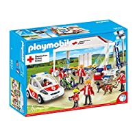 Playmobil 9537 Drk supply tent with ambulance emergency vehicle