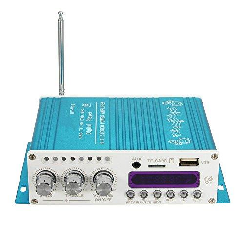 Stereo-bluetooth Auto Amp (V10 Mini Bluetooth Auto Verstärker 12 V DC, 2 Kanal Wireless Hifi Super Bass Audio Power Amp mit Fernbedienung, unterstützung FM / MP3 / TF / USB / DVD für Auto Motorrad Hause Stereo (kein Adapter) (Blau))