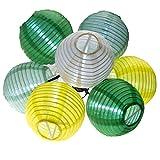 LED Solar Lichterkette Lampionkette 7 cm Lampion bunt Party Lichterkette IP44 (Grüntöne)