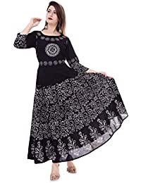 71889dae26 Urban Fab 100% Cotton Block Print Black Maxi Dress for Women with 3 4th
