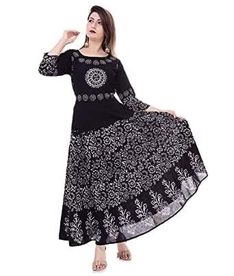 Urban Fab 100% Cotton Block Print Black Maxi Dress for Women with 3/4th Sleeve