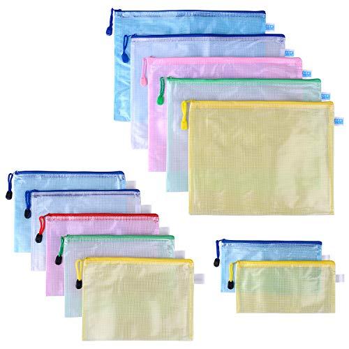 12 Stück IP68 Wasserdicht Dokumententasche A4+A5+A6 Kunststoff Reißverschlusstasche Set Transparente Aktentasche Mesh Bags für Datei, Papier, Dokumente, Kosmetika,Schule und Reiseutensilien