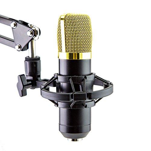 xiaokoa Kondensator Sound Aufnahme Mikrofon mit Mikrofon Shock Mount & ball-type Windschutz-schaumkappe & Mikrofon Power Cable (schwarz)