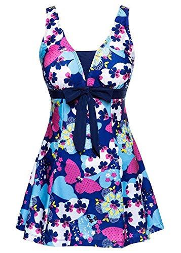 AMAGGIGO Damen Neckholder Push up BadekleidFigurformender Bunt Badeanzug mit Röckchen Bauchweg Einteiliger Badekleid, Blue Butterfly, EU 44--46