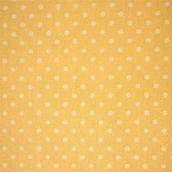 Amarillo 100% popelín con tela de algodón tejido con lunares blancos (por metro)