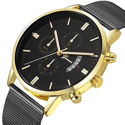 Armbanduhr Damen Ronamick Mode Herren uhren Edelstahl Sport Quarz Analog Datum Stunden Armbanduhr Armband Armbanduhr Uhr Uhren(L)