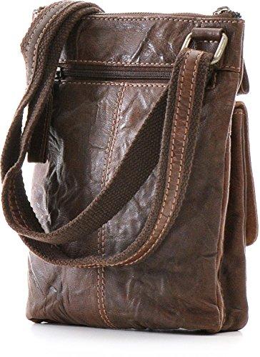 REBELS & LEGENDS, Cntmp, Unisex – Erwachsene, Messengerbags, Business-Bags, Aktentaschen, Handtaschen, Umhängetaschen, Leder, 19,5x24,5x4,5cm (B x H x T) Braun