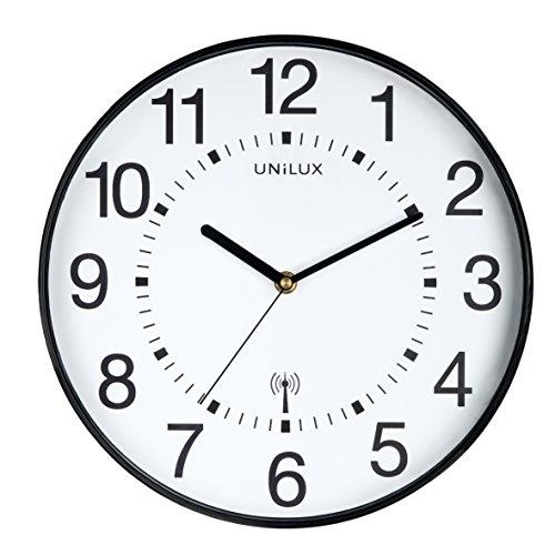 UNILUX 400094561 Funk-Wanduhr WAVE in schwarz 30 cm Funkuhr mit modernem Ziffernblatt automatische Zeitanpassung und Zeitumstellung von Sommer- und Winterzeit, modernes Ziffernblatt