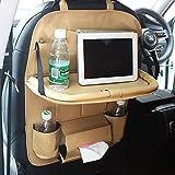 FJW Autositz-Organizer Autositzschutz Kick Mat Multifunctions Pockets Große Kapazität Auto Organizer mit Tablet-Halter,Beige