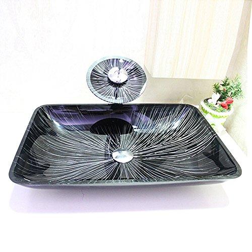 HomeLava Modern Waschbecken Glas Eckig Aufsatz Waschschale mit Wasserfall Wasserhahn Set