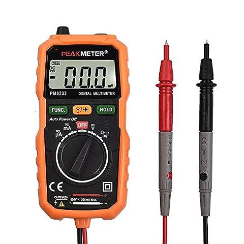 Neoteck Multimètre Numéique Mini Multimètre Digital Testeur Voltmètre Auto Gamme DMM avec les Probes de Détection Sans Contact et Ecran LCD Rétroéclairé pour Tester Courant Tension DC AC Résistance Diode Connectivité