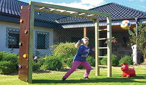 """Garten Spiel-Gerät Fussball-Tor mit Kletterwand und Kletter-Leiter im Maß von ca. 240 x 60 x 200 cm aus Kiefer/Fichte Holz """"Lukas"""""""