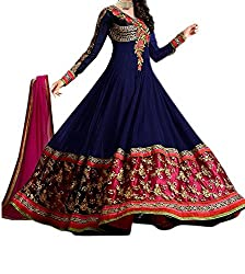Silkone Women's Georgette Semi Stitched Anarkali Suit (Silk011_Navy Blue_X-Large)