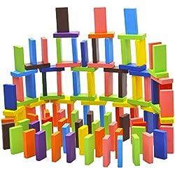 BEETEST 120 piezas BEETEST Niños bebés colorido dominó bloques pino juguetes de madera temprana inteligencia educativa bloques