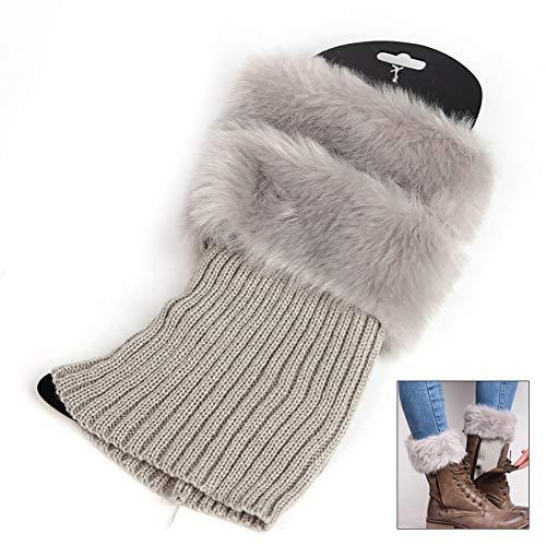 Naisicatar 1pair Leg scalda scarponi calzini delle donne inverno  Scaldamuscoli maglia della disposizione della pelliccia di eec0a053e307a