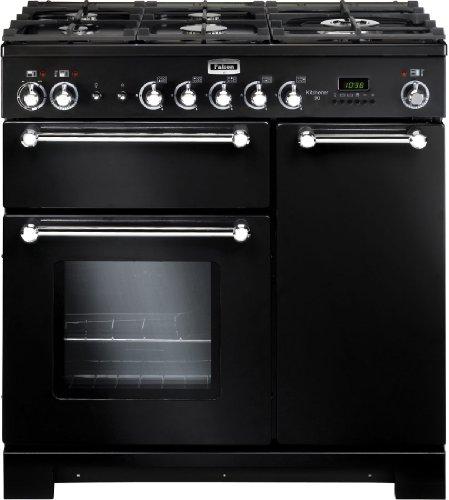 Falcon Kitchener 90 Cuisinière Cuisinière à gaz A Noir, Chrome - Fours et cuisinières (Cuisinière, Noir, Chrome, Rotatif, Électronique, Cuisinière à gaz, Small)