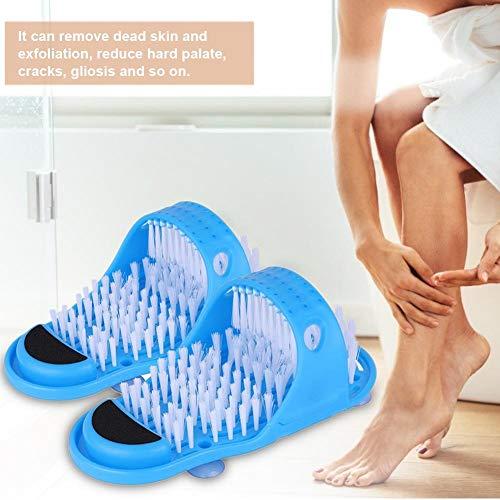 HELING 2 stücke Dusche Fußreiniger, Kunststoff Bad Schuh Duschbürste Massagegerät Hausschuhe, Blau Fuß Wäscher Pinsel Peeling Massage Sandalen, Badeschuhe -