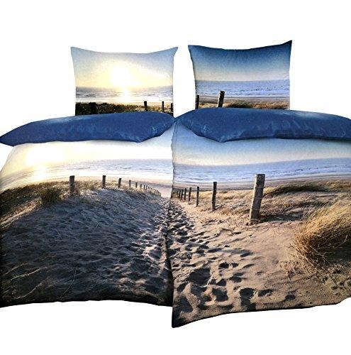 Strand, Bettwäsche (Leonado Vicenti 4 teilige Partnerbettwäsche 135x200 cm Baumwoll Satin Strand Meer blau beige mit Reißverschluss)