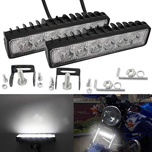 Led Light Bar Slim Led luce da lavoro 12V 24V 18W Faretti Fendinebbia per moto E-Bike ATV Trucks Trattori 4X4 Car Van Off Road impermeabile (confezione da 2)