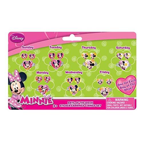 Joy Toy 71108Minnie Mouse 7días Set Pendientes y anillos de vinilo sobre...