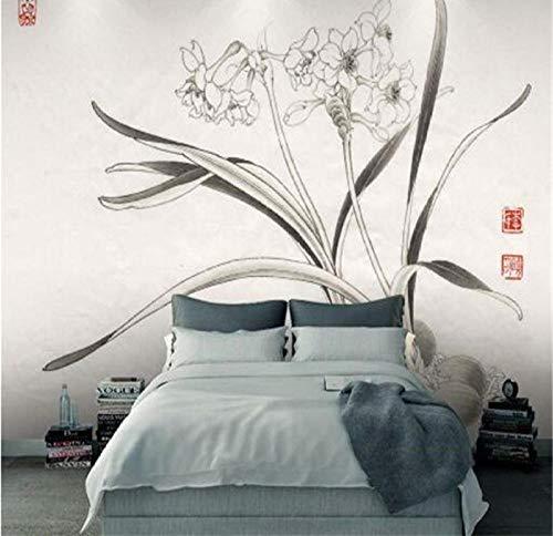 Mmneb carta da parati vintage cinese decorazioni per la casa carte da parati non tessute di alta qualità carte da parati vintage grigio orchidea per soggiorno-400x280cm