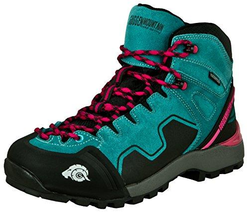 GUGGEN Mountain PM021 Damen Trekking-& Wanderstiefel Wanderschuhe Trekkingschuhe Outdoorschuhe wasserdicht mit Membran und Wildleder Farbe Blau EU 40