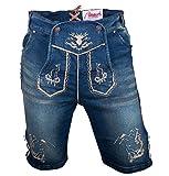 Almwerk Herren Trachten Jeans Lederhose kurz Modell Platzhirsch, Farbe:Blau;Lederhose Größe Herren:44